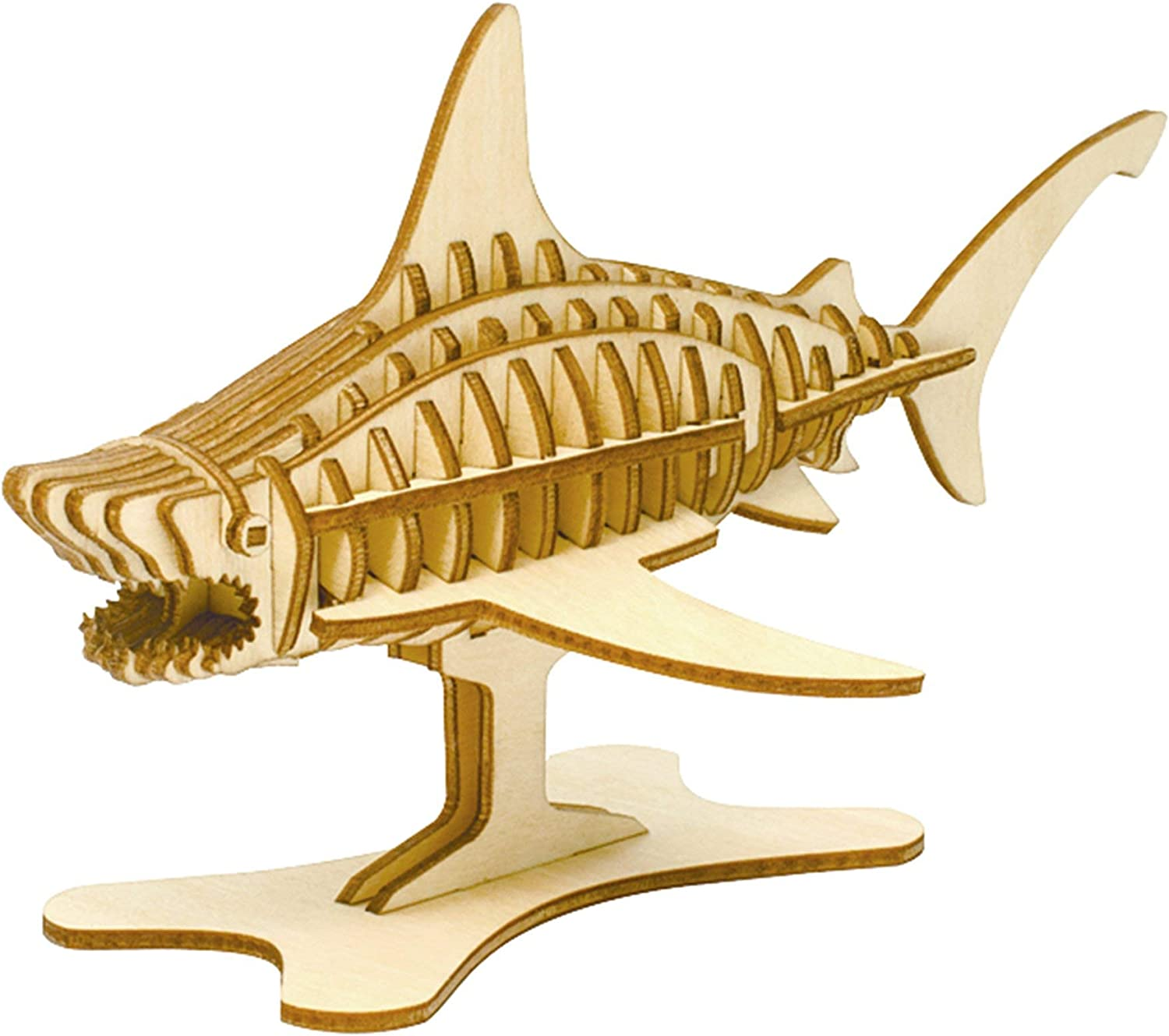 Team Green JIGZLE 2mm Plywood Wooden 3D Puzzle for Teens and Adults Mechanical Models Kits - Marine Collection - Shark