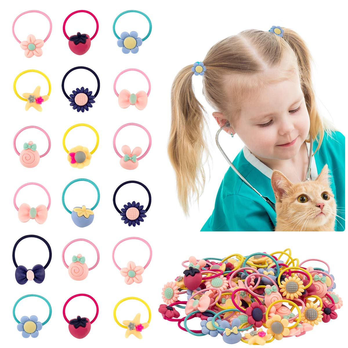 Madholly 100 pieces Baby Girls Hair Ties, Little Girl Bows Hair Elastic Ropes, Toddler Pigtail Ponytail Holder