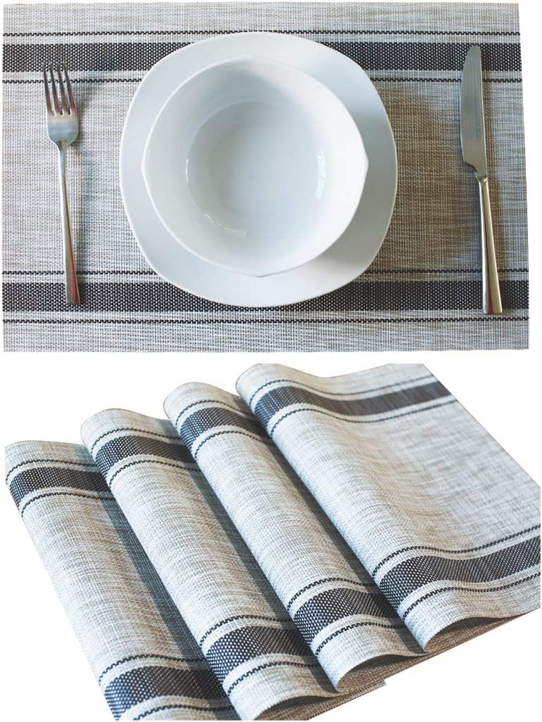 Dailinece Placemats for Table Place Mat Dining Kitchen Washable Heat Resistant Woven Vinyl Non-Slip PVC Set of 4 (Coffee): Kitchen & Dining