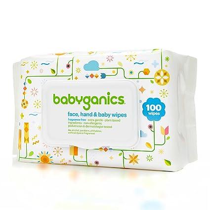 BabyGanics 100-count fragrance-free cara, mano toallitas para bebé