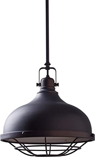 Amazon Brand Stone Beam Industrial Farmhouse Indoor Pendant Ceiling Light with Bulb, Adjustable 15 – 63 Cord, Oil-Rubbed Bronze