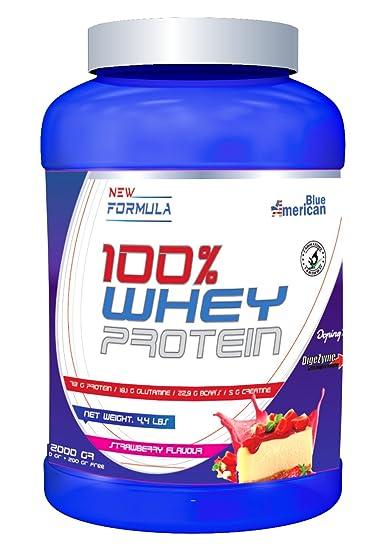 American Blue 100% Whey Proteína en Polvo, Fresa - 2Kg ...