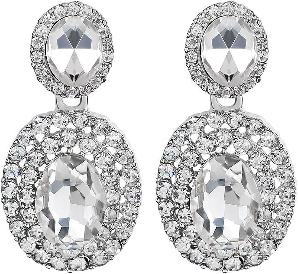 YAZILIND Pendientes de obsidiana con corte ovalado piedra preciosa diamantes de imitación chapados en platino circonia