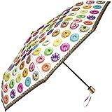 Ombrello pieghevole e leggero– Ombrello mini Perletti – Ombrello donna compatto da viaggio e borsa – Manuale – Diametro 99 cm – Stampa donuts (Donuts)
