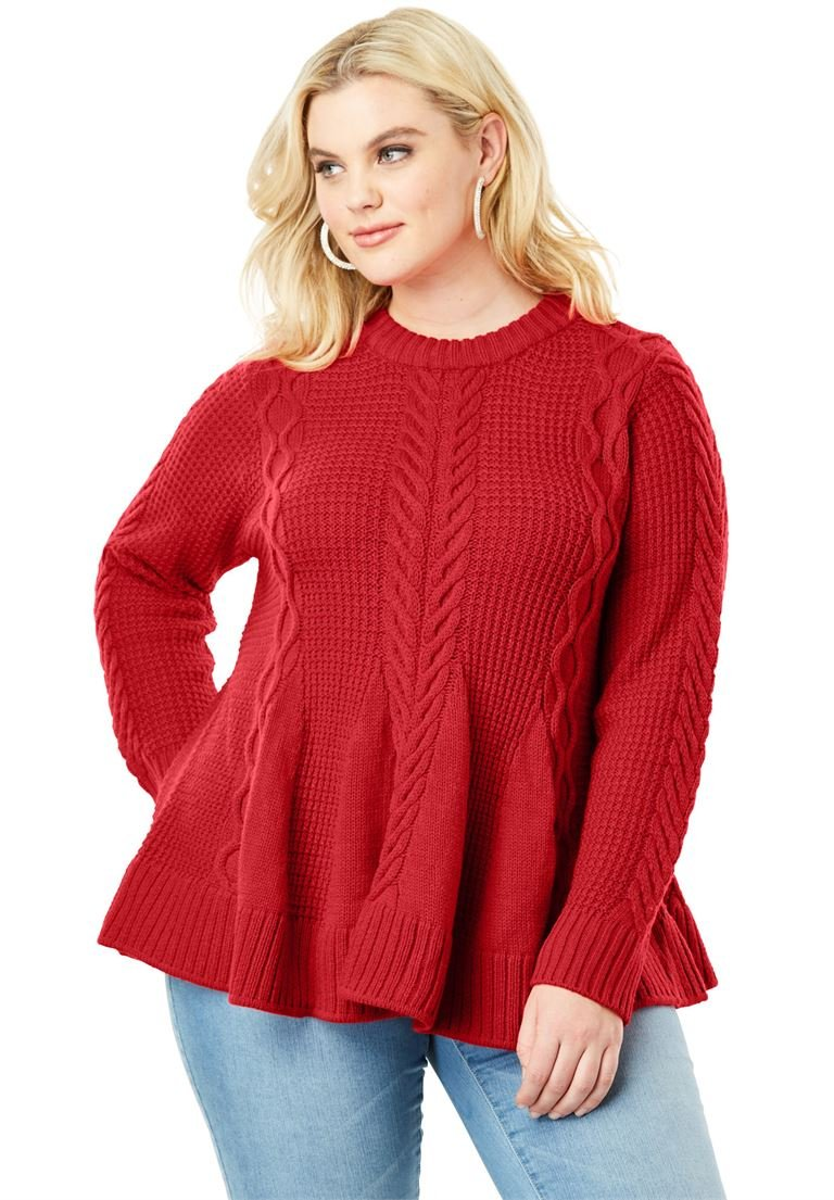 Women's Plus Size Cable Knit Fit & Flare Sweater