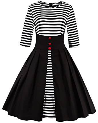 f428cdbda ZAFUL Women Vintage Short Sleeve Striped Midi Dress Button Pin Up Square  Neck Cocktail Party Swing