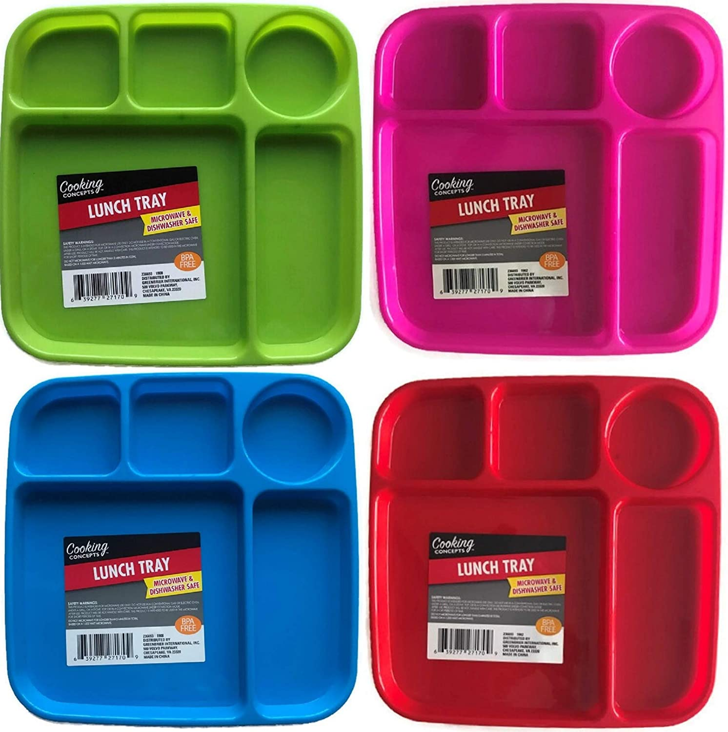 Kids Sectioned Divided and Sturdy Plastic Food Trays, 4-pc Set