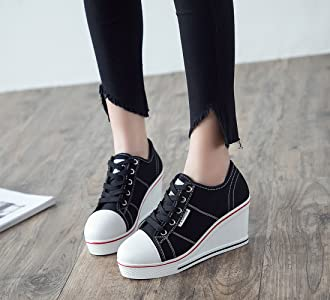 3fbb8f3b1a3bd Women's Canvas Shoes Wedge Heeled Platform Sneaker Fashion Pump Shoes