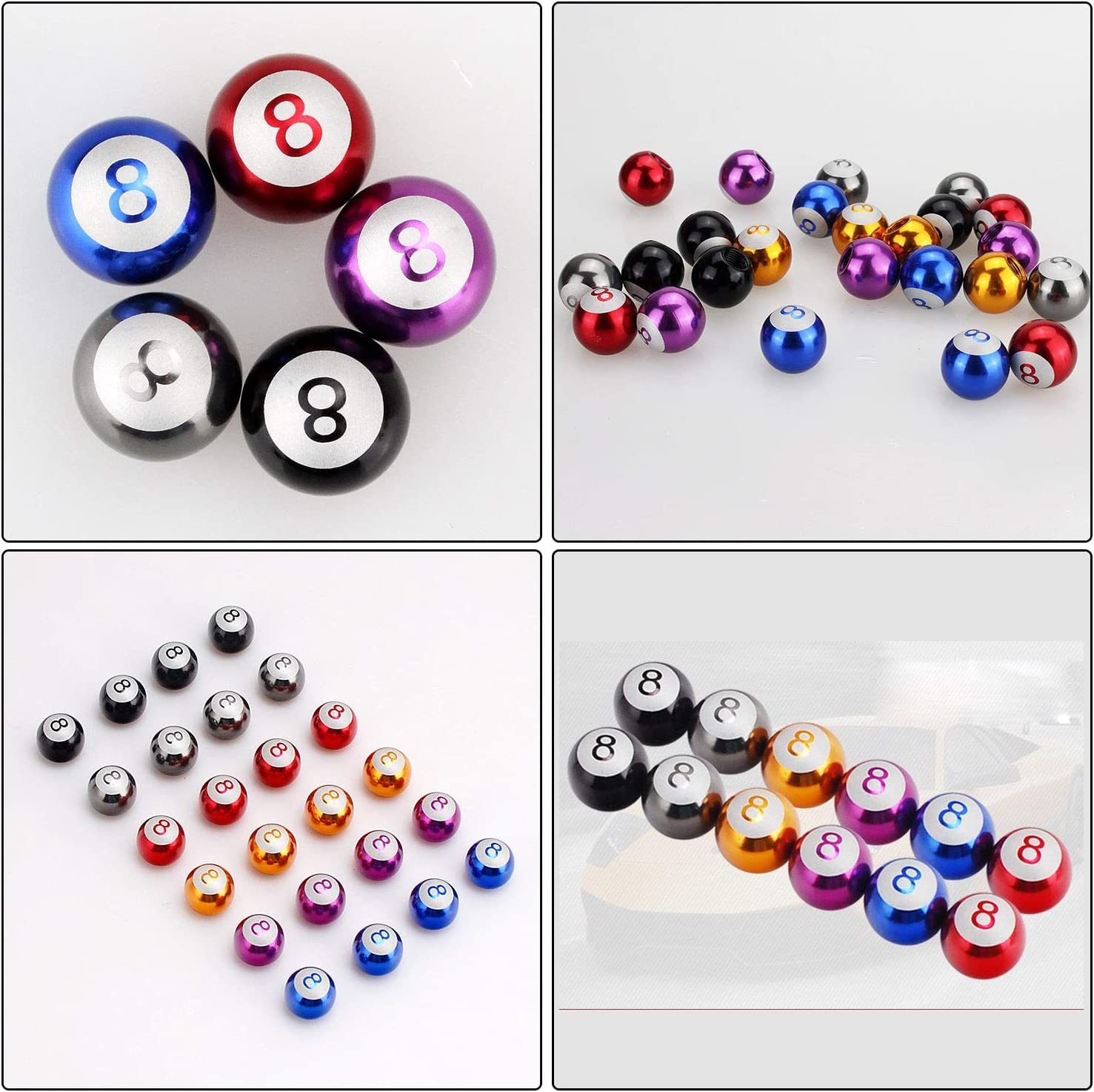 Car Tire Valve Stem Air Caps Cover for Car//Bicycle//Motorcycle Wheels Universal Steel Tire Valve Stem Caps 4pcs INCART Pool Eight Ball Billiard Black 8 Red