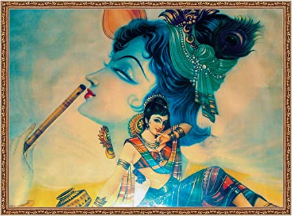 Mode Stoff Polyester Canvas Radha Krishna Wall Painting (21x30-inch)
