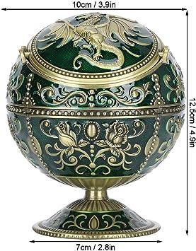 Bronze Globe Fly Dragon Form winddichter Aschenbecher f/ür Home Office Tearoom Crafts Dekoration Ornament Vintage Aschenbecher mit Deckel