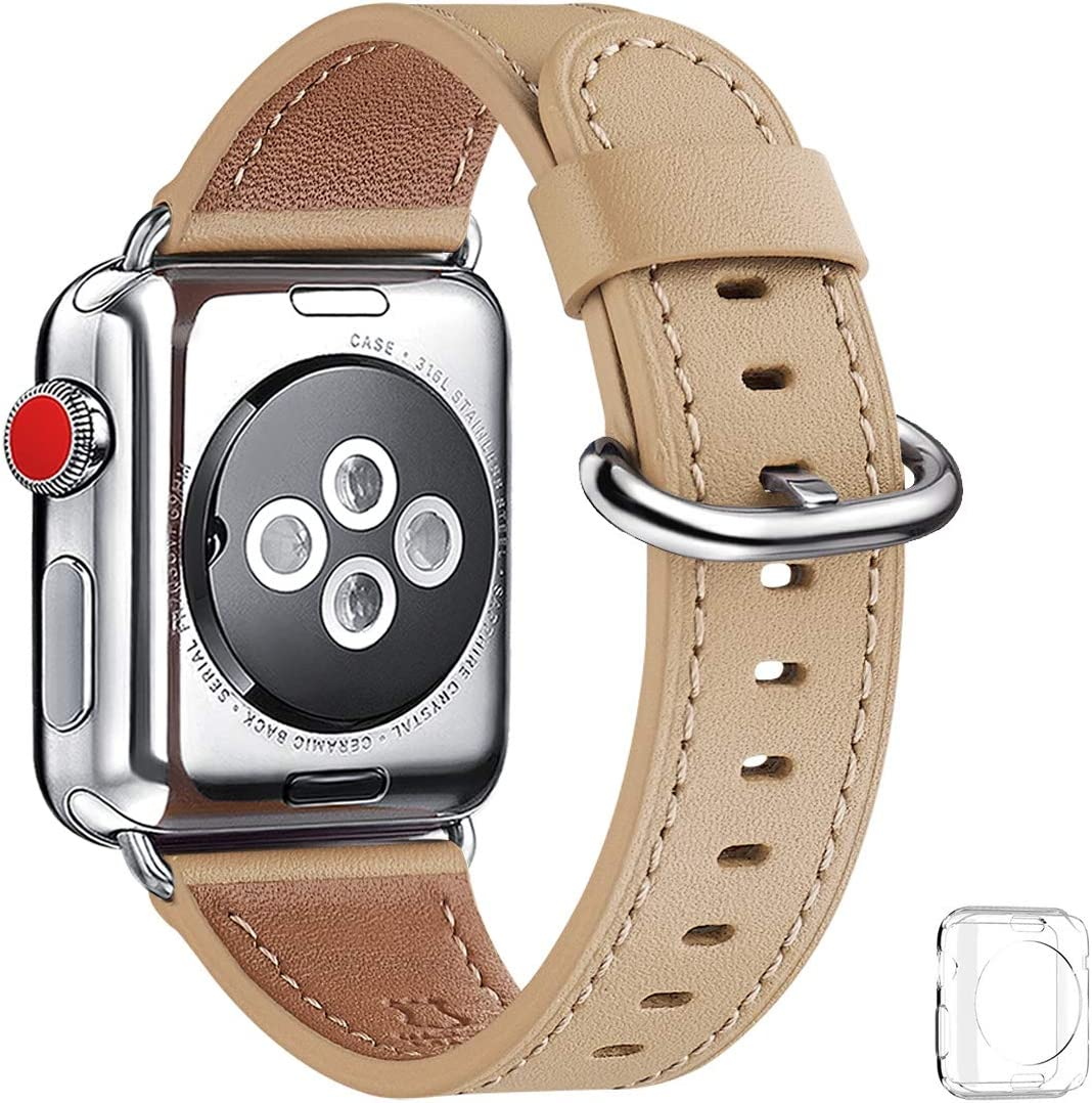 WFEAGL Compatible iWatch Band 38mm 40mm, Top Grain Leather Bands of Many Colors for iWatch SE & Series 6,Series 5,Series 4,Series 3,Series 2,Series 1(Camel Band+Silver Adapter, 38mm 40mm)