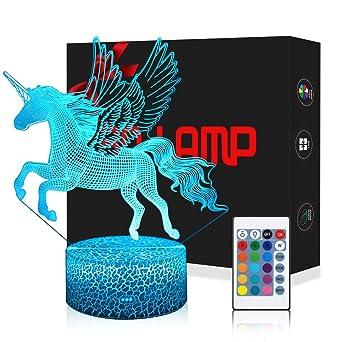 TélécommandeQilitd Tactile Interrupteur Licorne Lampe 3d Dimmable InsérerDecoration Couleurs Usbbatterie Led Lampes Lumière Avec 7 vNPm08Oynw