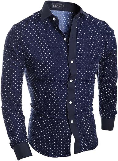 LEOCLOTHO Hombre Camisa de Manga Larga Slim Fit Estrellas Impresas Cómodo Camisas para Negocios Boda Ocio: Amazon.es: Ropa y accesorios