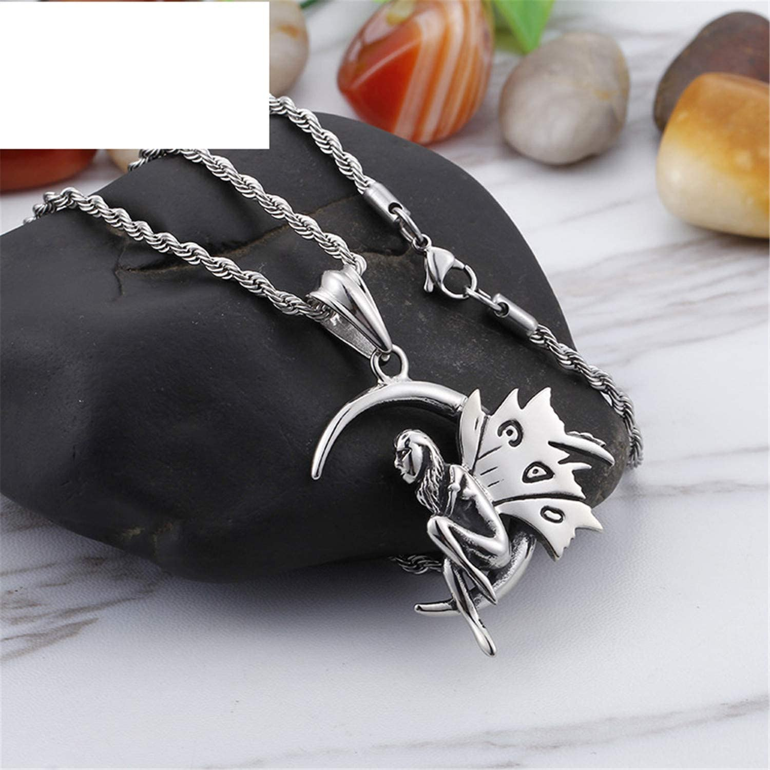 WANGSHUIJUN Stainless Steel Angle Wings Pendant Necklaces for Men Women Girl Butterfly Fairy Elves CharmGifts