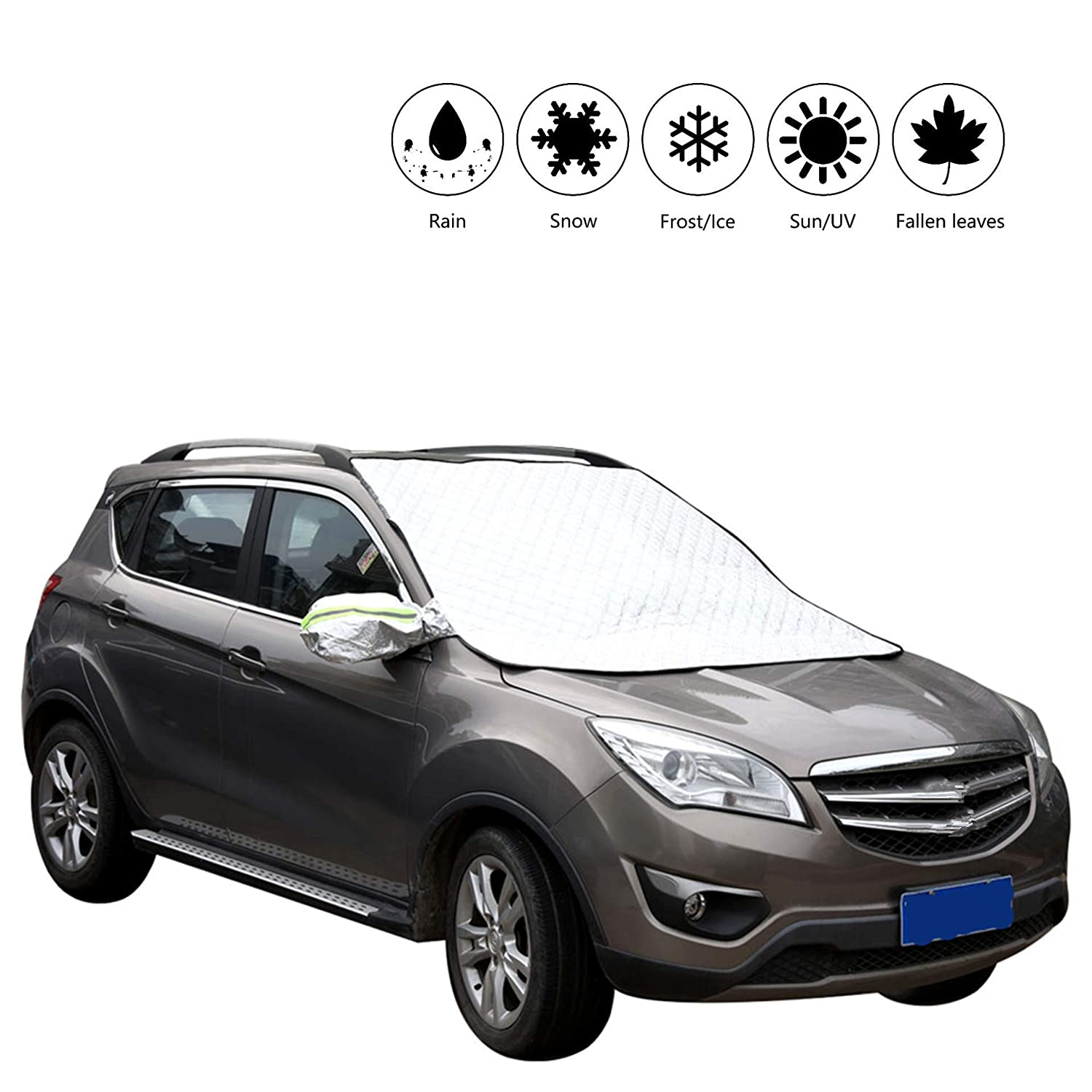 Large Size Fits Most Cars and SUV 70 Ice Frost,UV Full Protection H X 55 W GWUSKDT Car Windshield Snow Cover,Thickened 5-Layer Protection with Side Mirror Covers,Windshield Cover for Snow