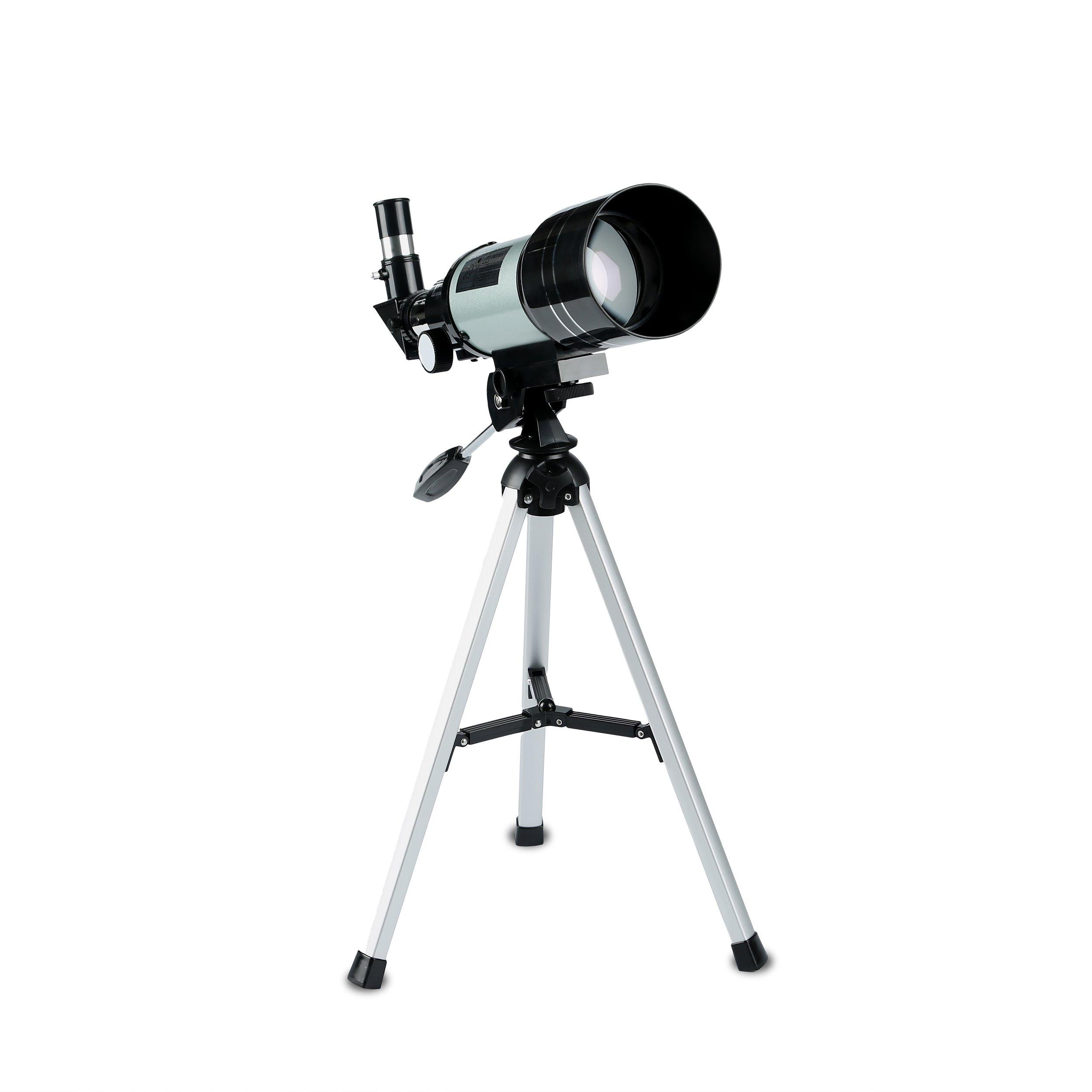 DQQ Telescope for Kids Sky Monocular Telescopes for Astronomy Beginners with Tripod Black 70mm,3X Barlow Lens