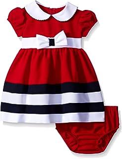 c38425d9857 Amazon.com: Bonnie Baby Baby Girls Short Sleeve Jacquard Party Dress ...