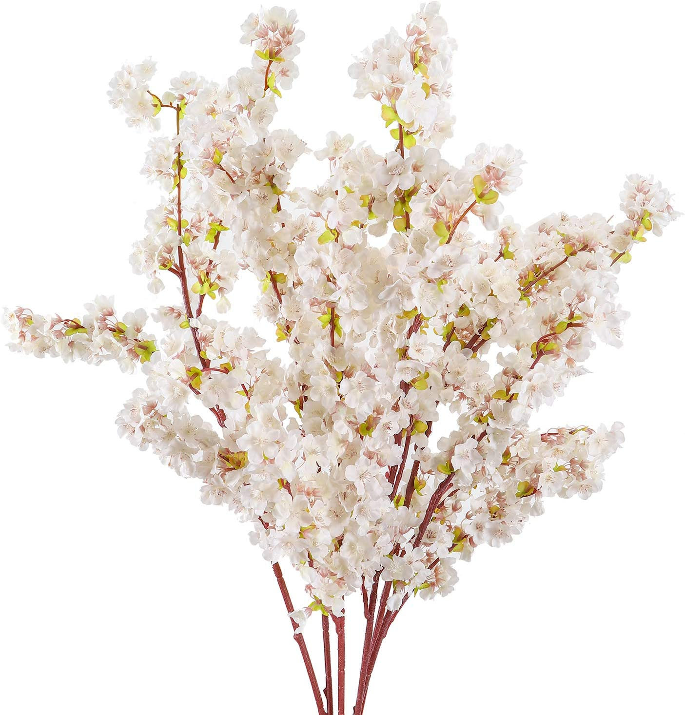 Cherry Blossom Flowers Artificial - 6 Packs Cherry Blossom Branches Long Stems Silk Tall Fake Flower Tree - Large Dogwood Blossoms Vases Arrangements For Home Decor, Wedding, Vase - 39 Inch Faux Stem