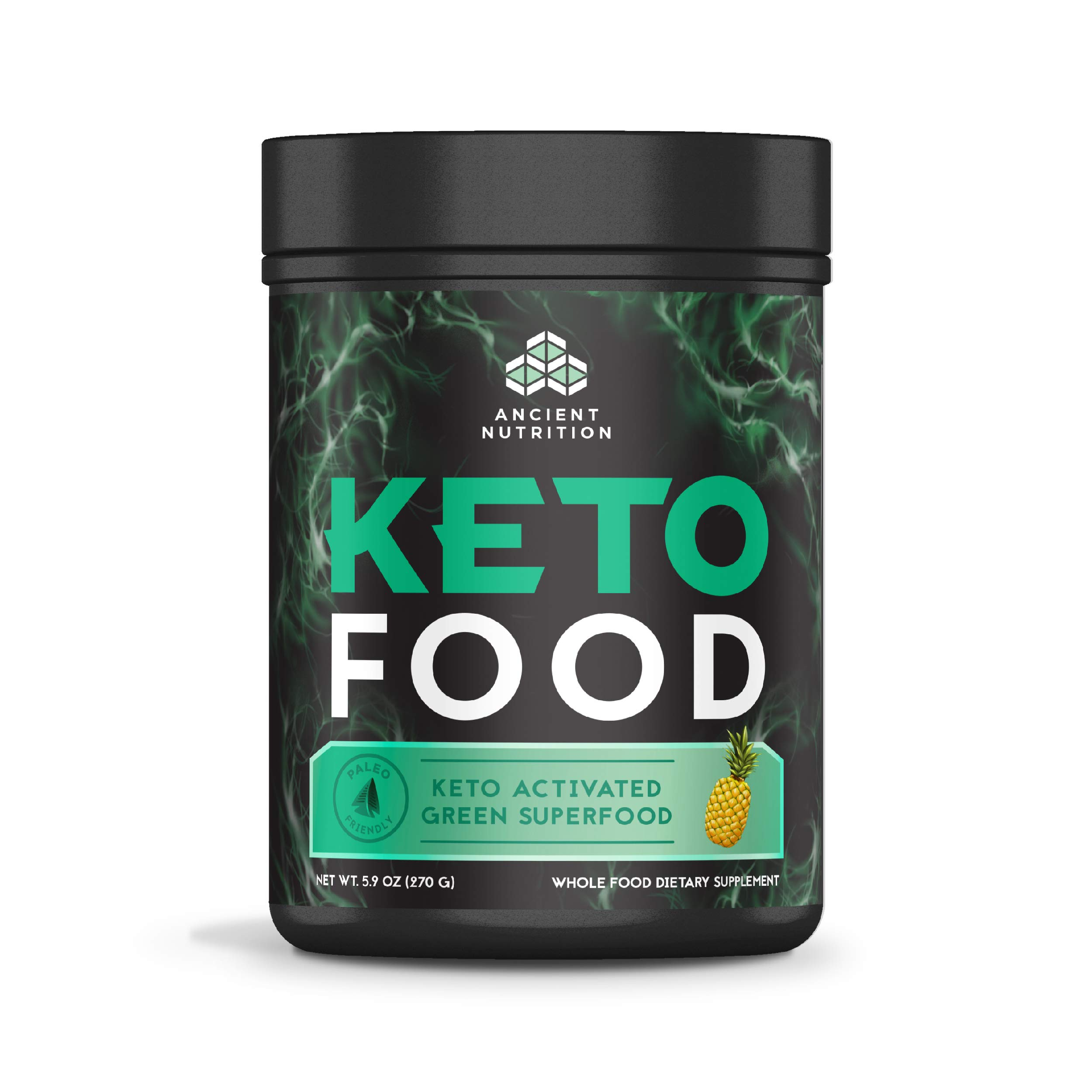 Ancient Nutrition KetoFOOD, Pineapple Flavor, 300 Grams, Keto Activated Green Superfood by Ancient Nutrition