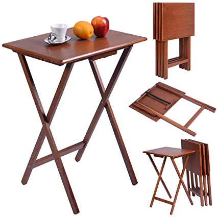 DreamHank 4 Piece Wood Portable Folding Set TV Tables Snack Dinner Couch  Laptop Stand Furniture,