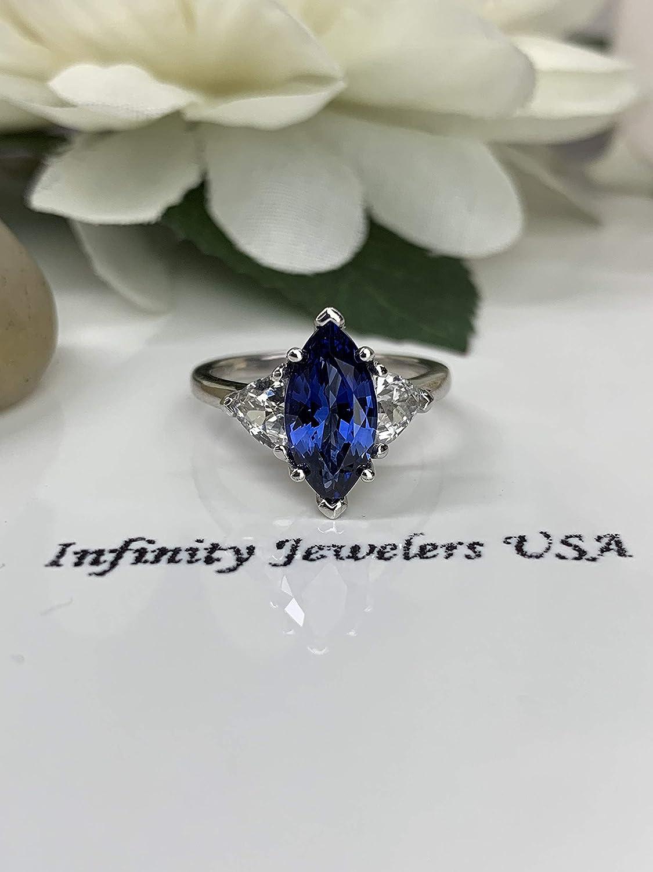 Sapphire Ring 14k Gold Ring Trillion Engagement Ring Trillion Sapphire Ring