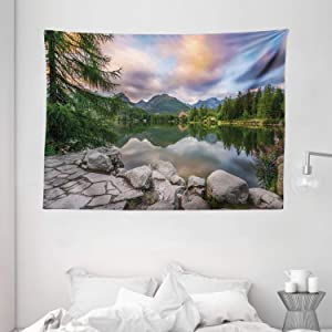 """Ambesonne Mountain Tapestry, Idyllic View with Tree on Still Lake Surrounded by Mountains and Moody Sky Image, Wide Wall Hanging for Bedroom Living Room Dorm, 80"""" X 60"""", Blue Grey"""