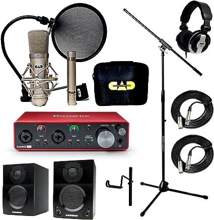 Casa estudio de grabación Bundle CAD gxl2200sp mh110 soporte Focusrite Scarlett 2I2 (2nd Gen) Samson media One BT3 altavoces: Amazon.es: Instrumentos musicales