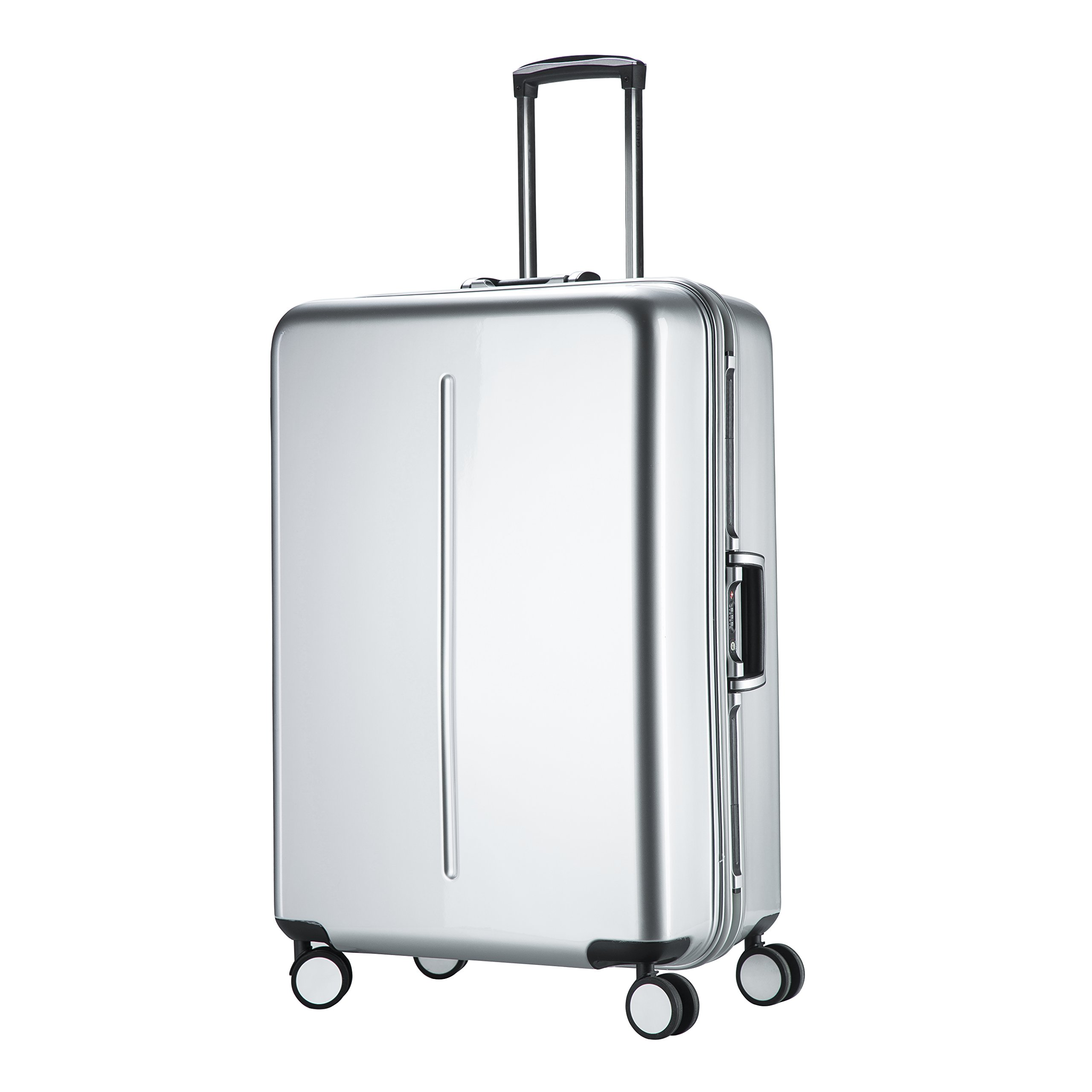 Aluminum Frame Carry On Luggage, Hardside Spinner PC Suitcase TSA Approved 20'', Silver