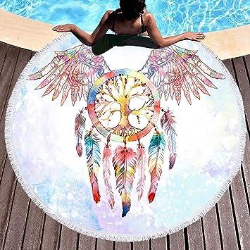 WSHINE Native American Dream Catcher Toalla de Playa Redonda Toalla de Rizo Circular Toallas de Playa alas Manta de Playa Redondo 5959 Pulgadas: Amazon.es: ...