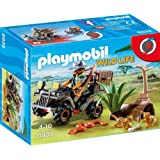 Playmobil 6939 Wildlife Evil Explorer and Quad with Pullback Motor- Multi-color