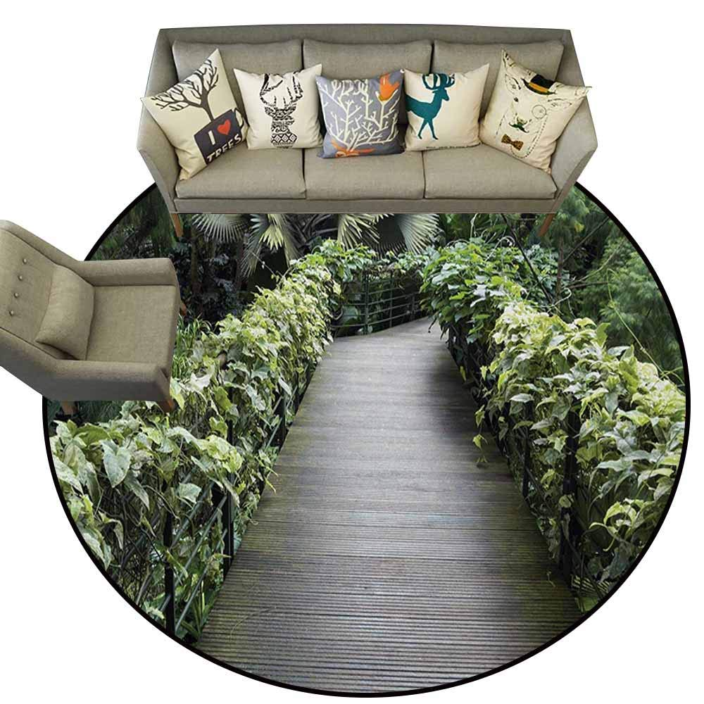color05 5.2\ Hedda Clare Flag Anti-Slip Round Doormats,Asian,Scenic Wooden Pathway in Singapore Botanical Garden Fence Rainforest Tropical,Fern Green Brown,for Kitchen Floor Bathroom5.2 feet