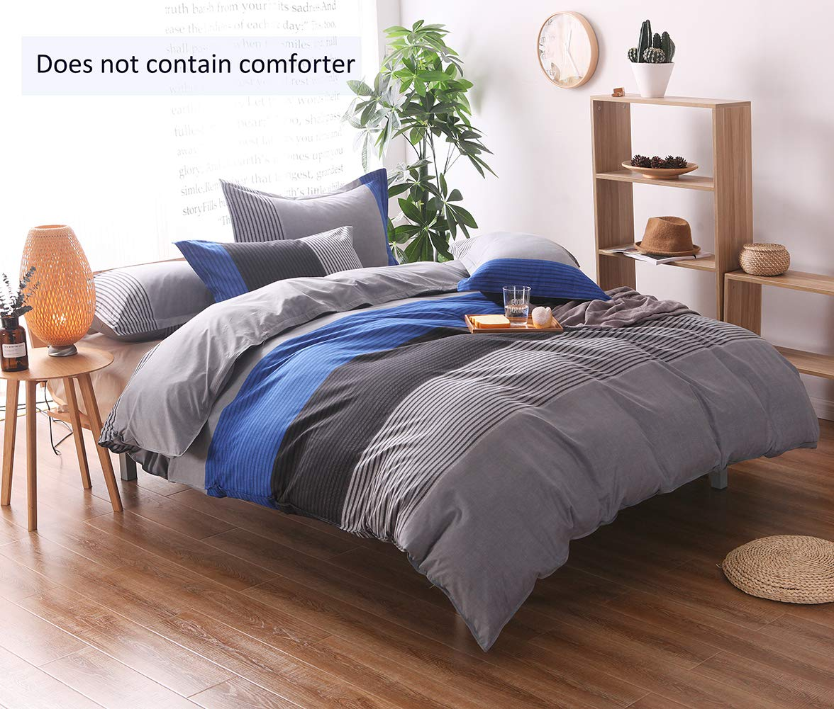 Striped Queen Duvet Cover Set (90x90 Inch), 3 Pieces Include 1 Blue Grey and Black Microfiber Duvet Cover Zipper Closure and 2 Multicolored Pillowcase, Bedding Set for Boys, Girls, Kids and Teens