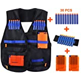 Kids Elite Tactical Vest Kit CEEBON Adjustable Elite Tactical Blasters Vest For EVA Nerf N-strike Elite Series (With 30 Pcs Foam Darts + 2Pcs 6-dart Quick Reload Clip +1Pcs 8-dart wrist band)