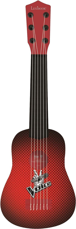 LEXIBOOK Voz Mi Primera Guitarra, 6 Cuerdas de Nailon, 53 cm, guía incluida, Negro/Rojo, K200TV, Color