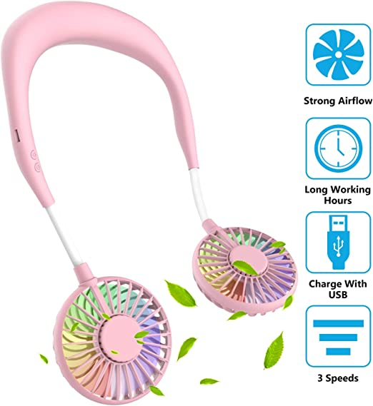 Fealay Mini Fan Hand Free Portable Wearable USB Rechargeable Personal Neckband Fan Featuring Micro USB with 3 Speed for Indoor Outdoor Color : Pink