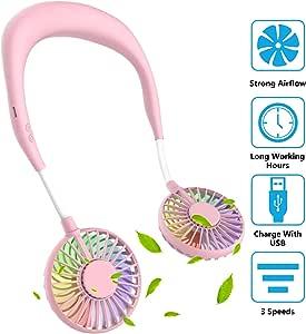 ITSHINY Ventilador Personal Portátil, Mini Ventilador de Manos Libres Mini Ventilador USB Recargable Ventilador de Banda para el Cuello, Ventilador de Refrigeración ...