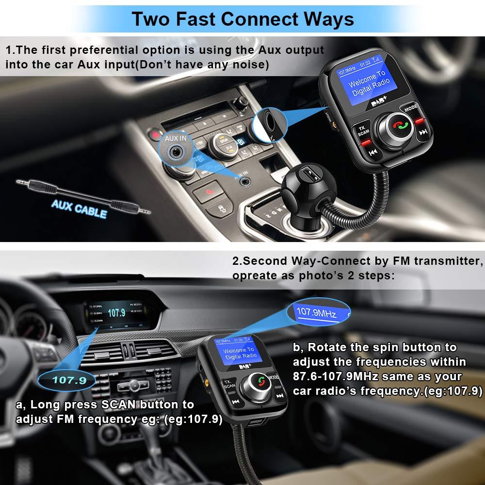 Trasmissione radio digitale portatile con caricabatterie da auto 5V 2.1A Ricevitore con Trasmettitore FM Bluetooth Vivavoce Chiamata Car Kit Ricevitore lettore MP3 Auto DAB//DAB