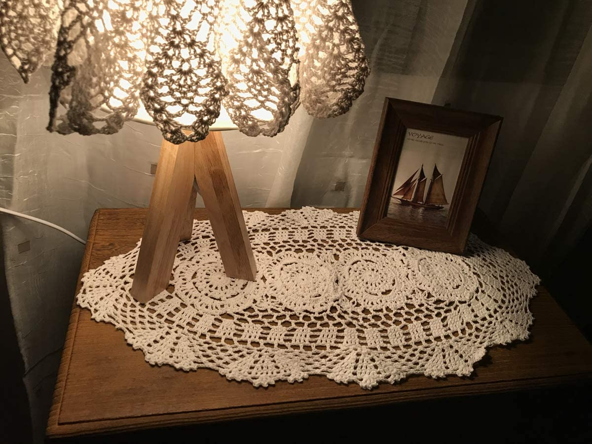 Damanni Oval Cotton Handmade Crochet Lace Table Runner Doilies Table Dresser Scarf Décor,12 Inch by 24 Inch,Beige