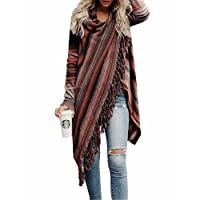 BIUBIU Women's Fall Long Sleeve Tassels Slash Hem Loose Sweater Poncho Cardigans