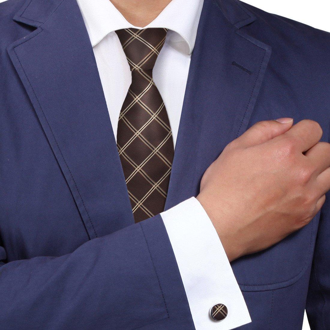 Y&G A2053 Dark Brown Checkered Blue Fine Presents Idea One Size World Gift Idea Silk Ties Cufflinks Set 2PT