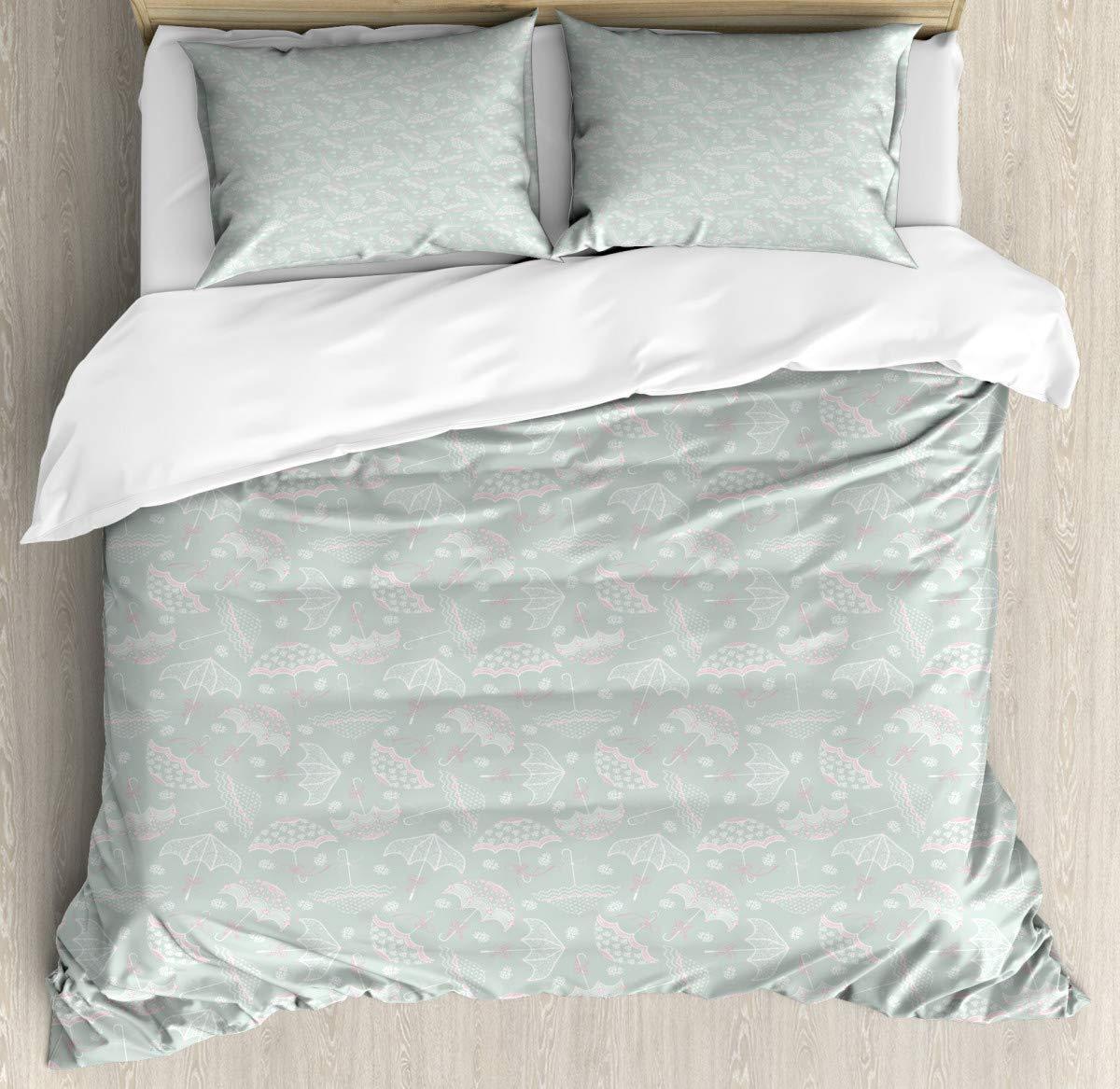 """Microfiber Duvet Cover SetVintage Floral Parasol Duvet Cover SetDecorative 3 Piece Bedding Set with 2 Pillow Shams86 x102/19""""x29""""inch"""