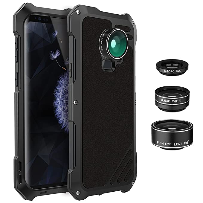 e5659950f4 Galaxy S9 Plus Lens Kit Case, SHEROX - 3 in 1 198° Fisheye Lens + 15X Macro  Lens + Wide Angle Lens with IP54 Dustproof Shockproof Aluminum Case for ...