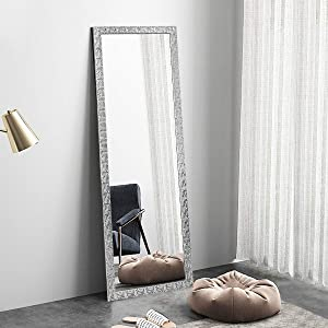 OGCAU Fashion Full Length Mirror, Floor Mirror with Stand, Full Body Mirror, Large Mirror, Mosaic Style Wall-Mounted Mirror for Bedroom, Living Room, Dressing Room - Silver 65