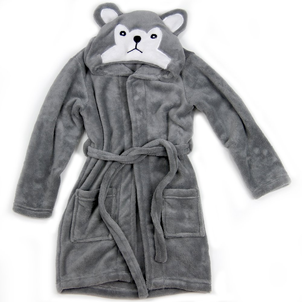 Hooded Fleece Robes for Toddlers Keeps Kids Cozy! Toddler Robe Calms Children! Cute and Warm Kids' Robe for Boys and Girls (Gray Wolf) Happy Healthy Parent