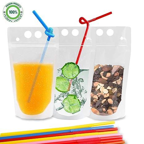 Amazon.com: Bolsas para bebidas, 100 bolsas de plástico con ...