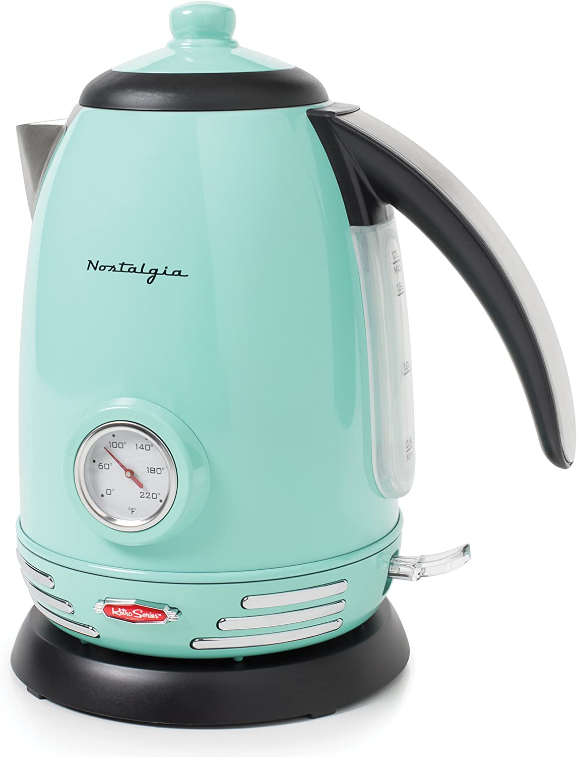 Nostalgia RWK150AQ Retro Stainless Steel Electric Water Kettle, Holds 1.7 Liters, Boil-Dry Protection, 360° Rotating Base, Water Level Indicator Window, Perfect For Tea, Hot Chocolate, Coffee, Aqua