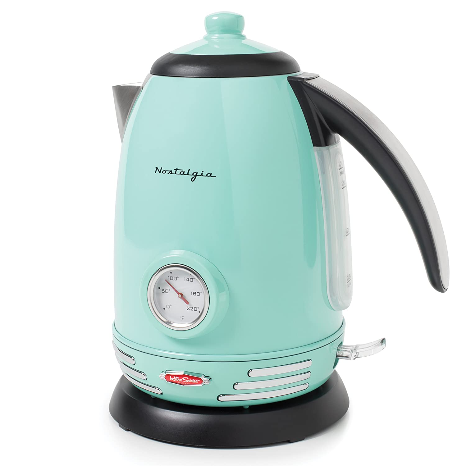 Nostalgia RWK150AQ Retro Stainless Steel Electric Water Kettle, 1.7 L, Aqua