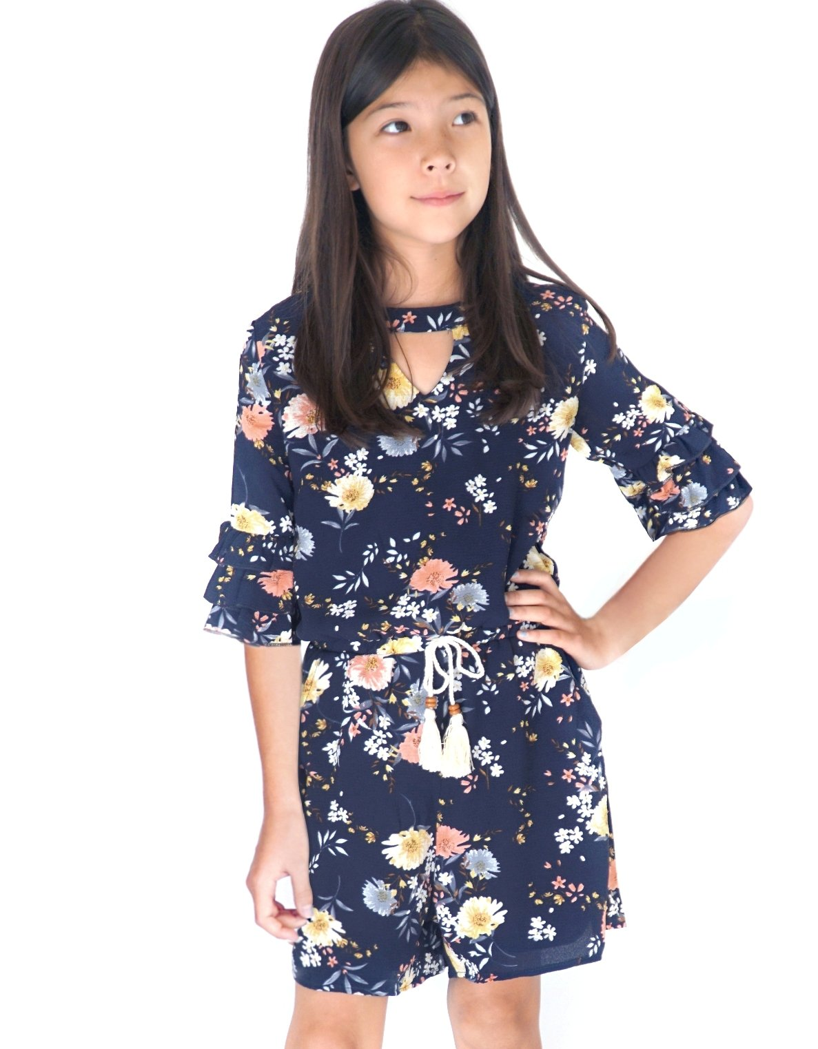 Smukke, Big Girls Gorgeous Floral Printed Tier Ruffles 3/4 Sleeves Romper (Many Options), 7-16 (10, Navy-Multicolor)