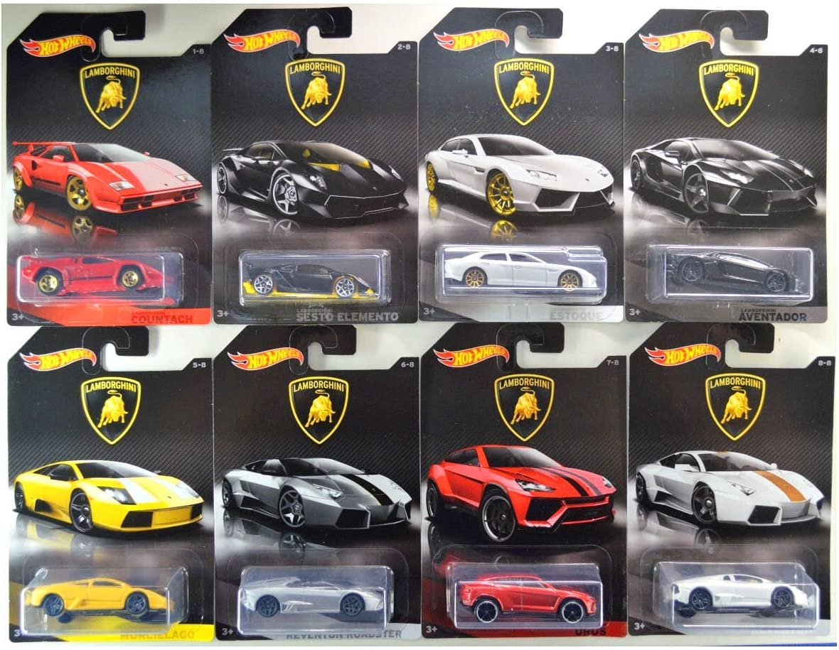 Hot Wheels 2017 Lamborghini Bundle of 8 Die-Cast Vehicles 1:64 Scale